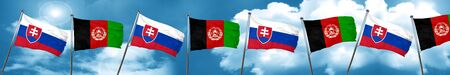 Slovakia flag with afghanistan flag, 3D rendering Stock Photo