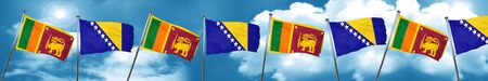Sri lanka flag with Bosnia and Herzegovina flag, 3D rendering