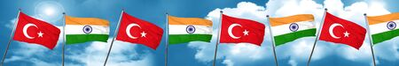 Turkey flag with India flag, 3D rendering