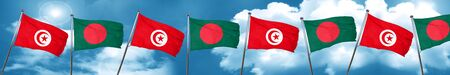 Tunesia flag with Bangladesh flag, 3D rendering Foto de archivo
