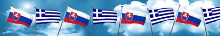 Slovakia flag with Greece flag, 3D rendering Stock Photo