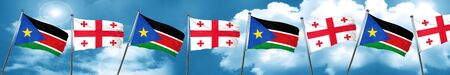 georgian: south sudan flag with Georgia flag, 3D rendering