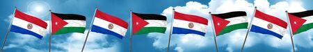 Paraguay flag with Jordan flag, 3D rendering Stock Photo