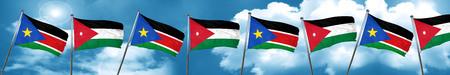 Bandera del sur de Sudán con la bandera de Jordania, 3D Foto de archivo