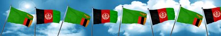 afghan: Zambia flag with afghanistan flag, 3D rendering Stock Photo