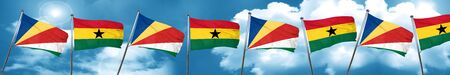 seychelles flag with Ghana flag, 3D rendering