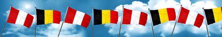 bandera de peru: Peru flag with Belgium flag, 3D rendering Foto de archivo