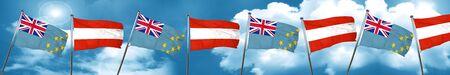 Tuvalu flag with Austria flag, 3D rendering