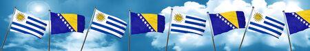 Uruguay flag with Bosnia and Herzegovina flag, 3D rendering