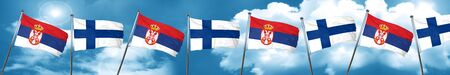 finnish: Serbia flag with Finland flag, 3D rendering Stock Photo