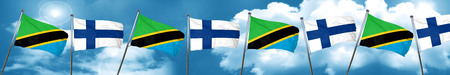 Tanzanian flag with Finland flag, 3D rendering Stock Photo