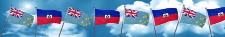 tuvalu: Tuvalu flag with Haiti flag, 3D rendering