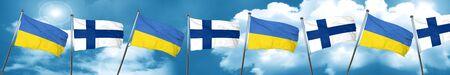 Ukraine flag with Finland flag, 3D rendering