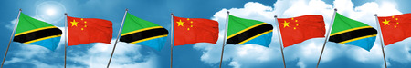 tanzania: Tanzanian flag with China flag, 3D rendering