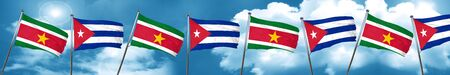 cuban culture: Suriname flag with cuba flag, 3D rendering Stock Photo