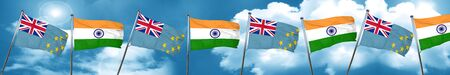 Tuvalu flag with India flag, 3D rendering Stock Photo
