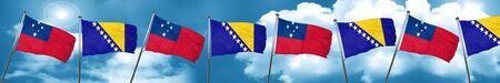 Samoa flag with Bosnia and Herzegovina flag, 3D rendering Stock Photo