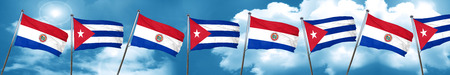 bandera de paraguay: Paraguay flag with cuba flag, 3D rendering Foto de archivo