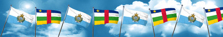san marino flag with Central African Republic flag, 3D rendering