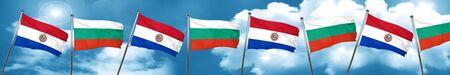bandera de paraguay: Paraguay flag with Bulgaria flag, 3D rendering
