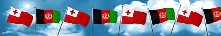 Tonga flag with afghanistan flag, 3D rendering Stock Photo