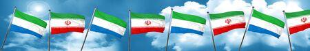 Sierra Leone flag with Iran flag, 3D rendering