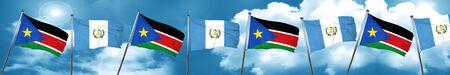 bandera de guatemala: south sudan flag with Guatemala flag, 3D rendering Foto de archivo