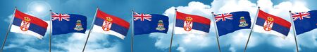 Serbia flag with Cayman islands flag, 3D rendering
