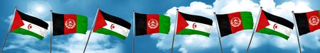 Western sahara flag with afghanistan flag, 3D rendering Stock Photo