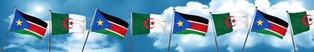 south sudan flag with Algeria flag, 3D rendering
