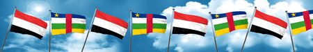 central african republic: Yemen flag with Central African Republic flag, 3D rendering Stock Photo
