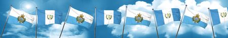 san marino flag with Guatemala flag, 3D rendering