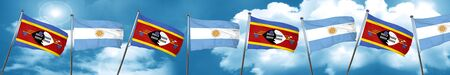 Swaziland flag with Argentine flag, 3D rendering