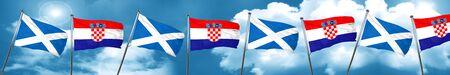 bandera de croacia: scotland flag with Croatia flag, 3D rendering Foto de archivo