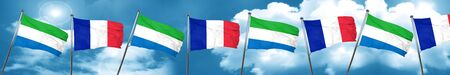 french culture: Sierra Leone flag with France flag, 3D rendering