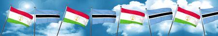 botswana: Tajikistan flag with Botswana flag, 3D rendering