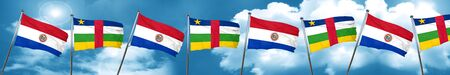 central african republic: Paraguay flag with Central African Republic flag, 3D rendering