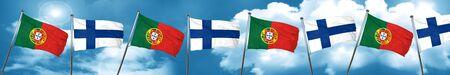 bandera de portugal: Bandera de Portugal con la bandera de Finlandia, representación 3D