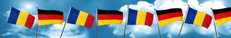 Romania flag with Germany flag, 3D rendering Foto de archivo