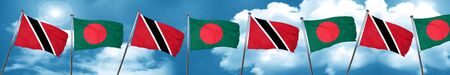 Trinidad and tobago flag with Bangladesh flag, 3D rendering Stock Photo