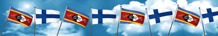 Swaziland flag with Finland flag, 3D rendering Stock Photo