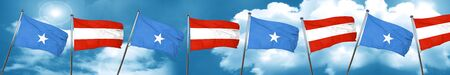 Somalia flag with Austria flag, 3D rendering