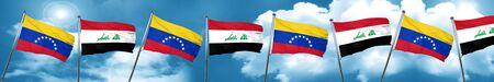 Venezuela flag with Iraq flag, 3D rendering