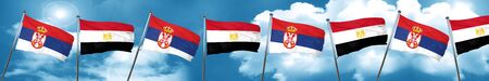 Serbia flag with egypt flag, 3D rendering