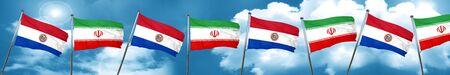 bandera de paraguay: Paraguay flag with Iran flag, 3D rendering