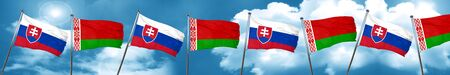 Slovakia flag with Belarus flag, 3D rendering Stock Photo