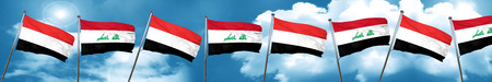 Yemen flag with Iraq flag, 3D rendering
