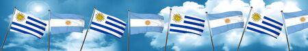 bandera de uruguay: Uruguay flag with Argentine flag, 3D rendering