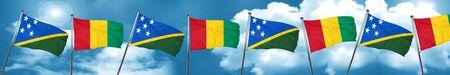 solomon: Solomon islands flag with Guinea flag, 3D rendering