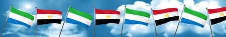 Sierra Leone flag with egypt flag, 3D rendering